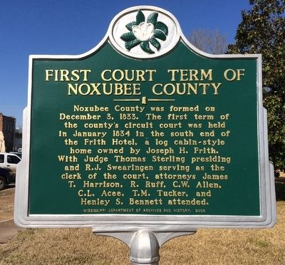 First Court Term of Noxubee County Marker image. Click for full size.