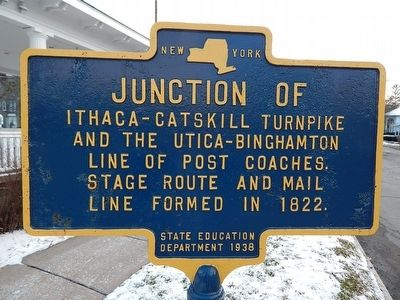 Junction Of Ithaca-Catskill Turnpike Marker image. Click for full size.