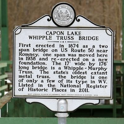 Capon Lake Whipple Truss Bridge Marker image. Click for full size.