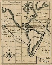 Map of the Voyage of the Ship Brooklyn image. Click for full size.