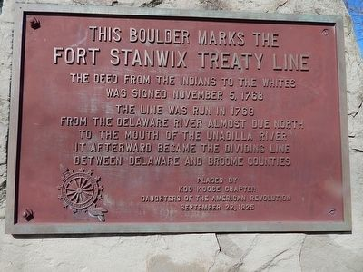 This Boulder Marks The Fort Stanwix Treaty Line Marker image. Click for full size.