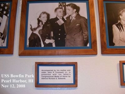 John P. Cromwell Memorial-Photo in the USS Bowfin Park Museum, Pearl Harbor image. Click for full size.