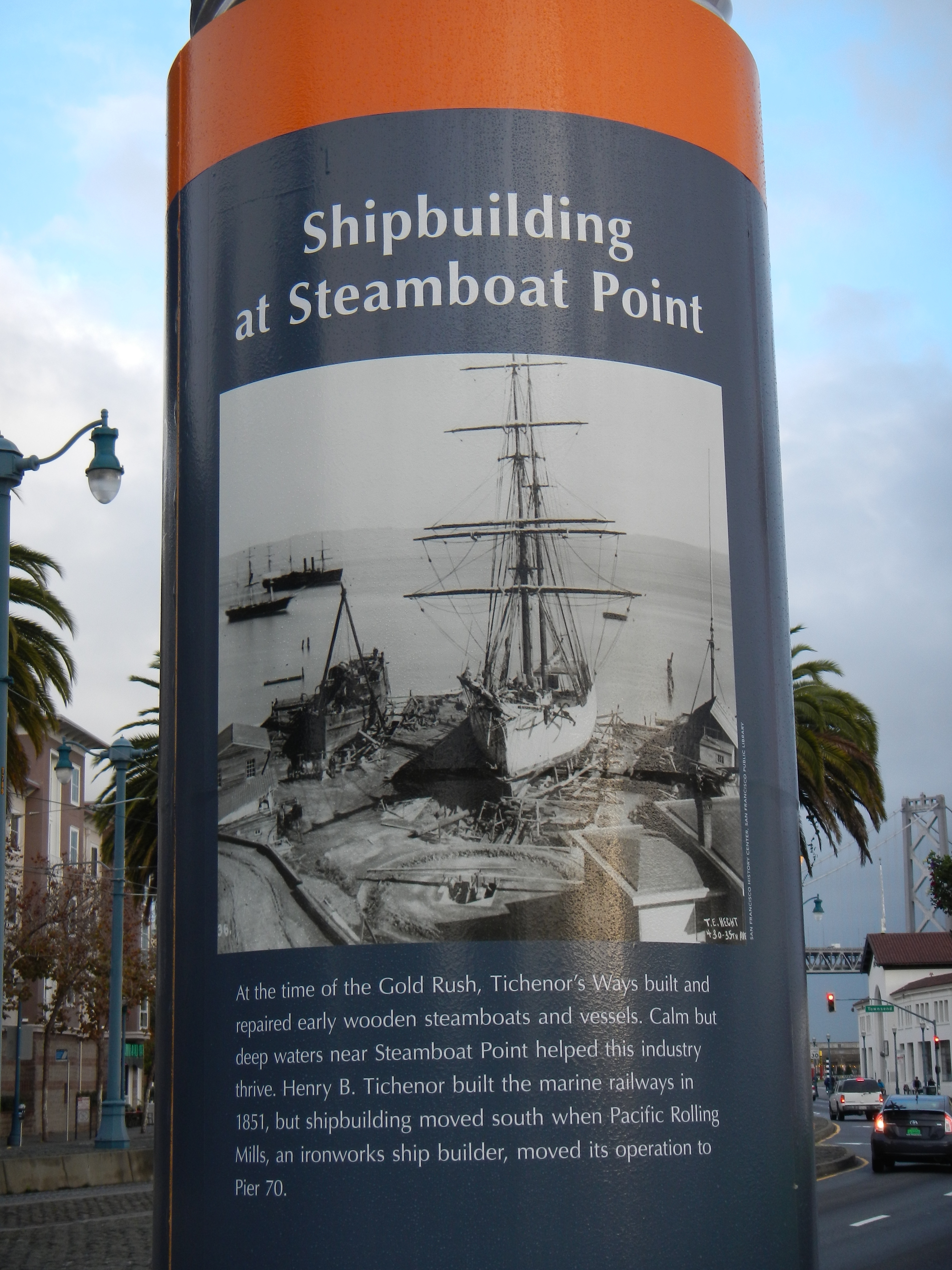 Shipbuilding at Steamboat Point Marker