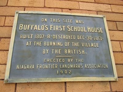 Buffalo's First School House Marker image. Click for full size.