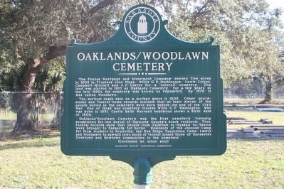Oaklands/Woodlawn Cemetery Marker image. Click for full size.