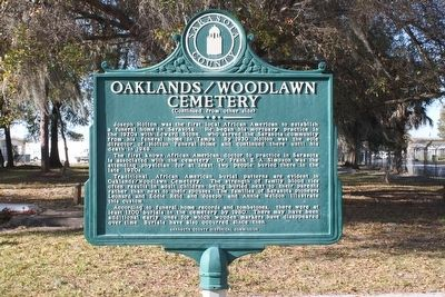 Oaklands/Woodlawn Cemetery Marker Reverse image. Click for full size.