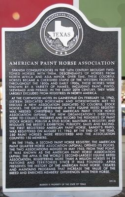 American Paint Horse Association Texas Historical Marker image. Click for full size.