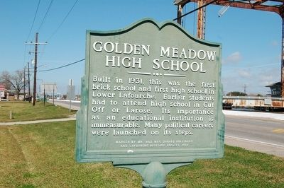 Golden Meadow High School Marker image. Click for full size.