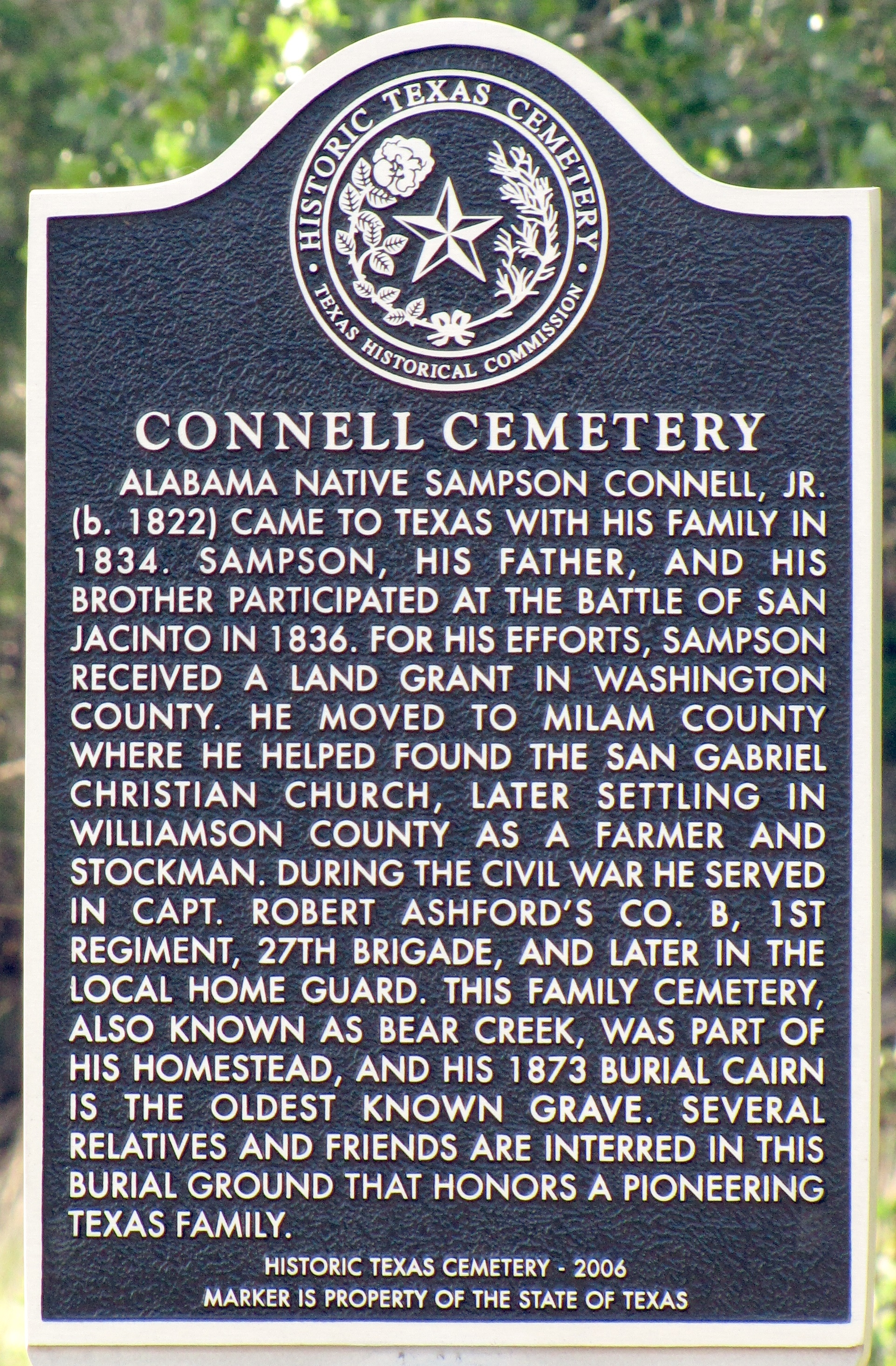 Connell Cemetery Marker
