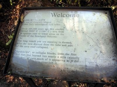 Lava River Cave Marker<br>Welcome image. Click for full size.