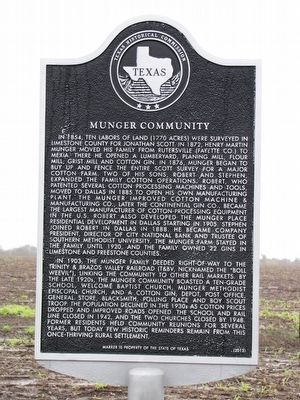 Munger Community Texas Historical Marker image. Click for full size.