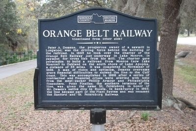 Orange Belt Railway Marker Reverse image. Click for full size.