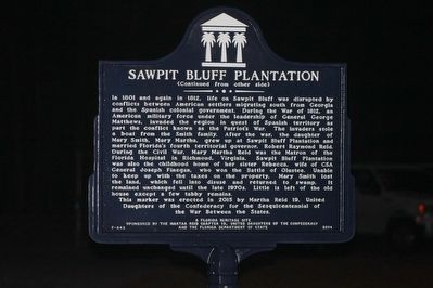 Sawpit Bluff Plantation Marker Side 2 image. Click for full size.