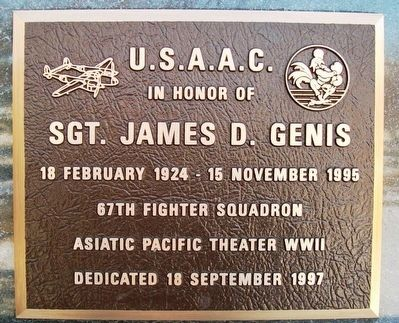 Sgt. James D. Genis, U.S.A.A.C. Marker image. Click for full size.