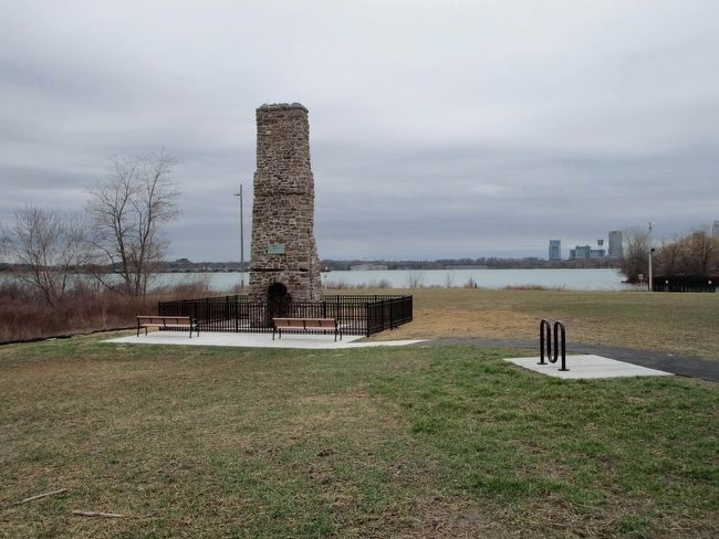 4th Location - Old Stone Chimney & Marker image. Click for full size.