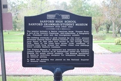 Sanford High School/Sanford Grammar/Student Museum Marker-Side 2 image. Click for full size.