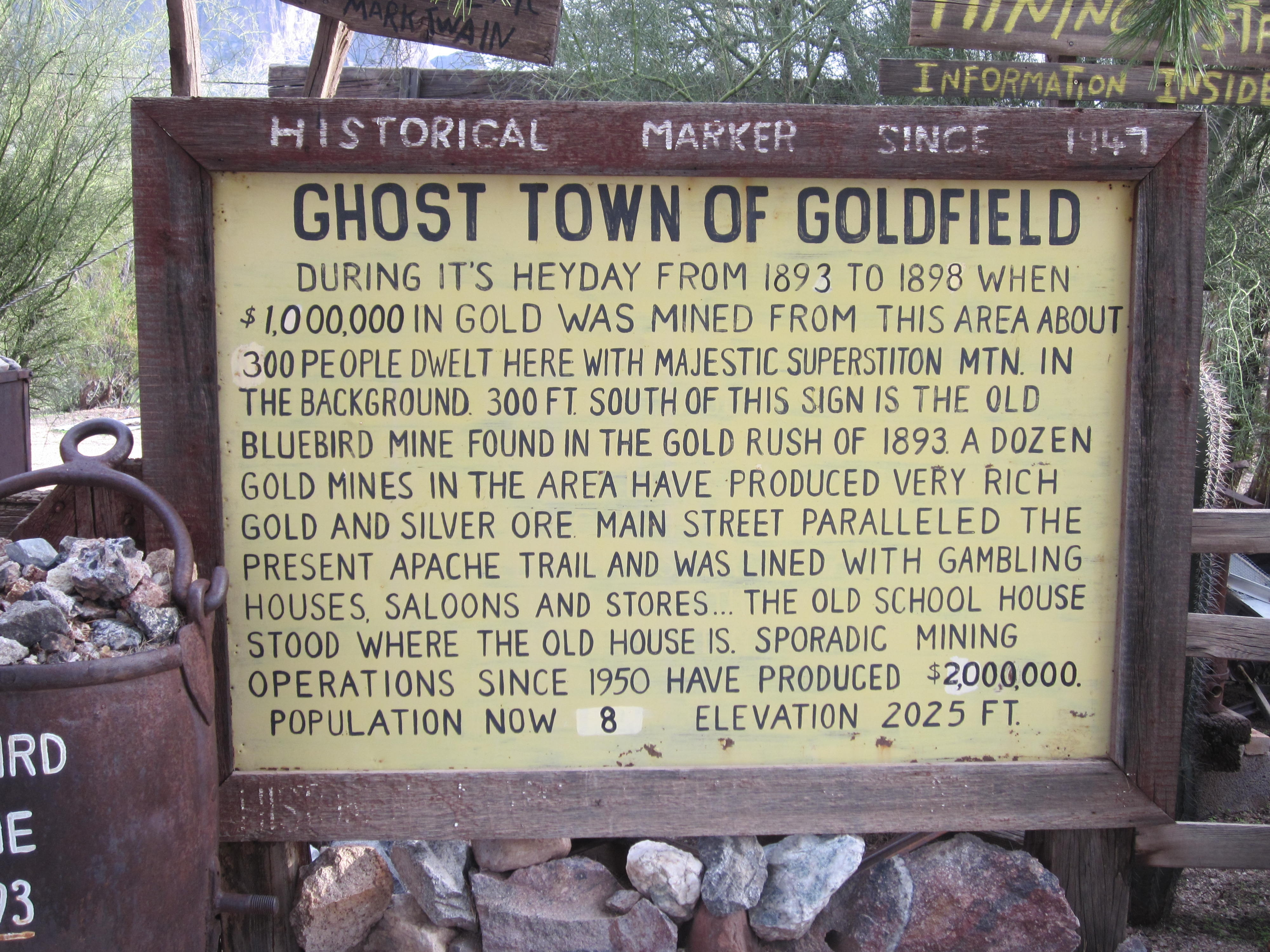 Ghost Town of Goldfield Marker