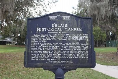 Belair Historical Marker Marker-Side 1 image. Click for full size.