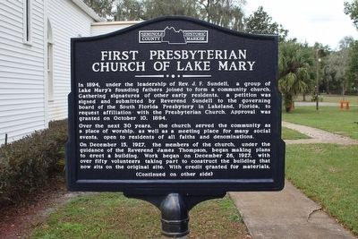 First Presbyterian Church of Lake Mary Marker-Side 1 image. Click for full size.