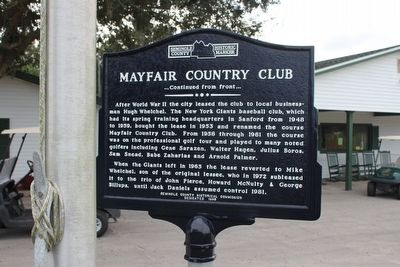 Mayfair Country Club Marker-Side 2 image. Click for full size.