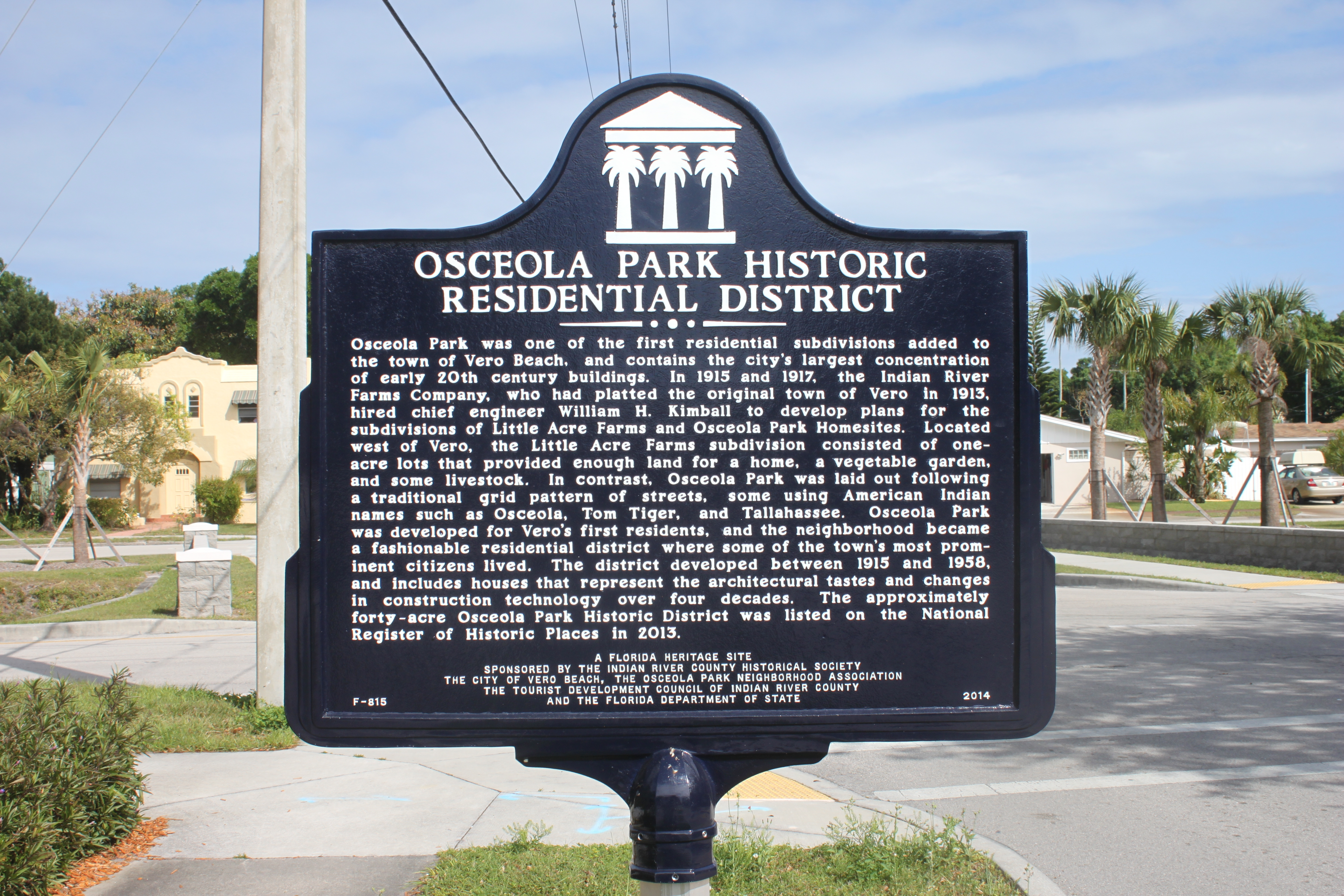 Osceola Park Historic Residential District Marker