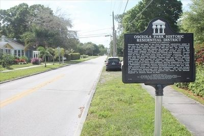 Osceola Park Historic Residential District Marker with 19th St on the left image. Click for full size.
