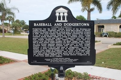 Baseball and Dodgertown Marker image. Click for full size.