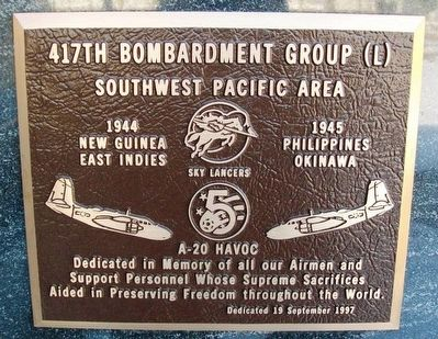 417th Bombardment Group (L) Marker image. Click for full size.