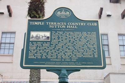 Temple Terraces Country Club Sutton Hall Marker-Side 1 image. Click for full size.