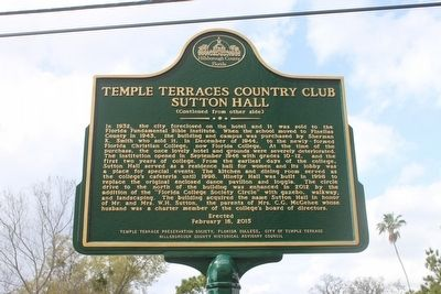 Temple Terraces Country Club Sutton Hall Marker-Side 2 image, Touch for more information