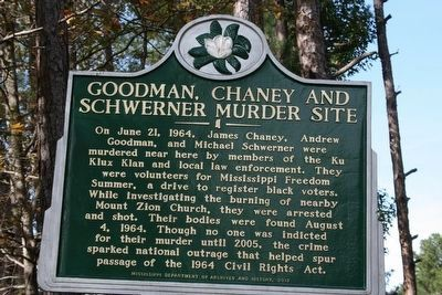 Goodman, Chaney and Schwerner Murder Site Marker image. Click for full size.