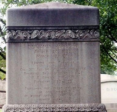 Benjamin Harrison Marker-close up of tombstone image. Click for full size.