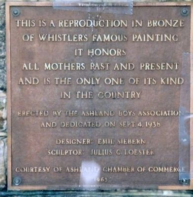 Whistler Mother Painting in Bronze Marker image. Click for full size.