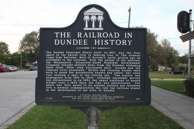 The Railroad in Dundee History Marker image. Click for full size.
