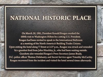 President Reagan Assassination Attempt Marker image. Click for full size.