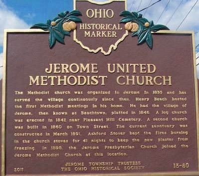 Jerome United Methodist Church Marker (side 1) image. Click for full size.