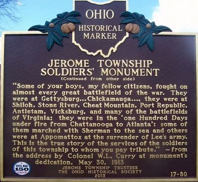 Jerome Township Soldier's Monument Marker (side b) image. Click for full size.