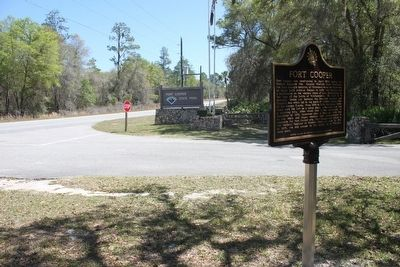 Fort Cooper Marker at entrance to park. image. Click for full size.