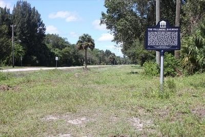 The Fellsmere Railroad Marker on the old railroad grade image. Click for full size.