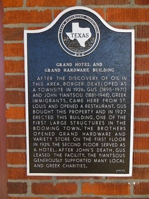 Grand Hotel and Grand Hardware Building Marker image. Click for full size.