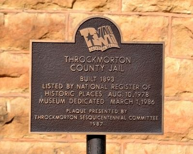 Throckmorton County Jail Marker image. Click for full size.