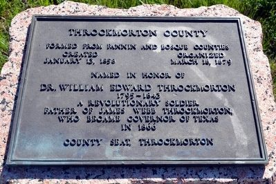 Inscription Plate of Throckmorton County Marker image. Click for full size.