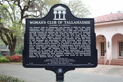 Woman's Club of Tallahassee Marker image. Click for full size.