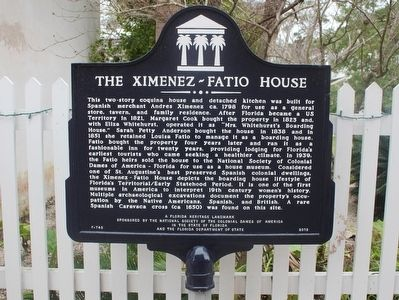 The Ximenez-Fatio House Marker image. Click for full size.