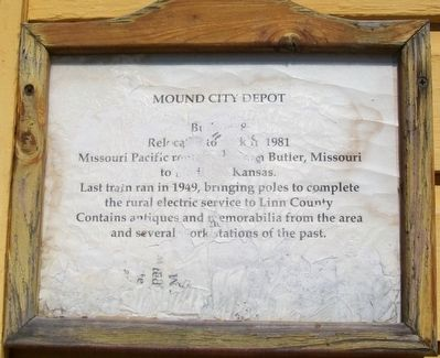 Mound City Depot Marker image. Click for full size.