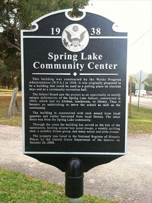 1938-Spring Lake Community Center Marker image. Click for full size.