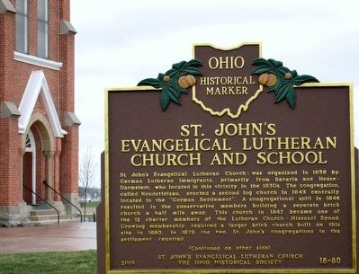 St.John's Evangelical Lutheran Church and School Marker image. Click for full size.