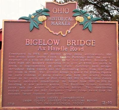 Bigelow Bridge, Ax Handle Rd Marker image. Click for full size.
