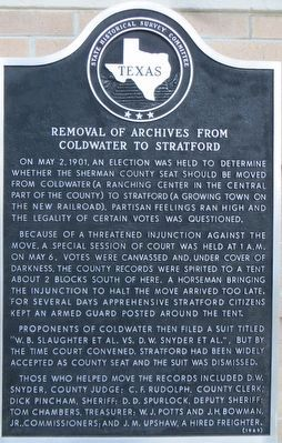 Removal of Archives From Coldwater to Stratford Marker image. Click for full size.