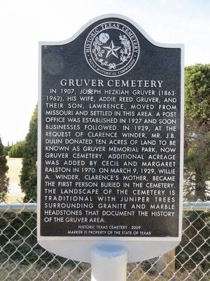 Gruver Cemetery Marker image. Click for full size.